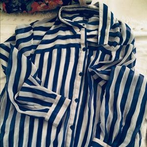 Long sleeve Blue & White Striped Button Blouse